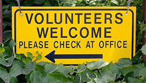 Volunteers Welcome: Please Check At Office